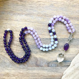 Amethyst, Lavender Amethyst and Blue Lace Agate Mala