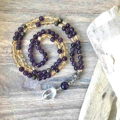 Amethyst, Citrine and Pyrite Mala