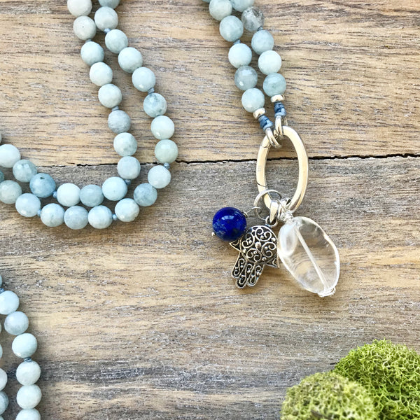 Aquamarine Intention Mala Necklace
