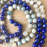 Aquamarine and Lapis Lazuli Intention Mala