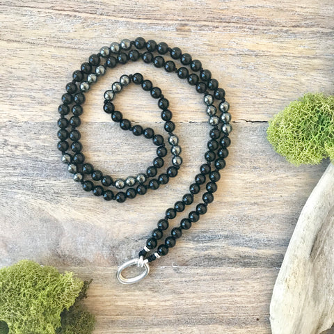 Black Onyx and Hematite Alpa Intention Mala Necklace