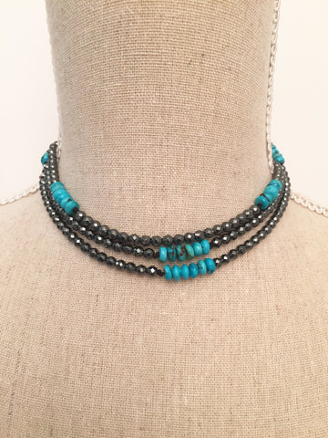 Hematite and Turquoise Wrap Necklace