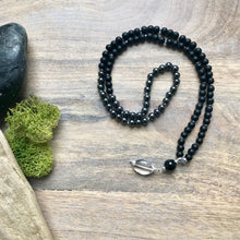 Load image into Gallery viewer, Mens Hematite and Frosted Black Obsidian Mala Necklace