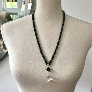 Mens Hematite and Frosted Black Obsidian Mala Necklace