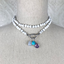 Load image into Gallery viewer, These natural faceted blue Chalcedony gemstones have been carefully wired wrapped with sterling silver and attached to a closed 7mm sterling jump ring. They will fit most necklaces and most clasps.