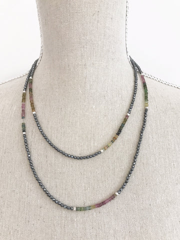 Small Hematite and Tourmaline Wrap Necklace