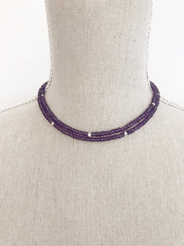 Amethyst High Cut Wrap Necklace