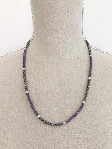 Amethyst and Hematite double Wrap Necklace
