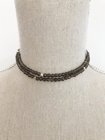 Smoky Quartz double Wrap Necklace