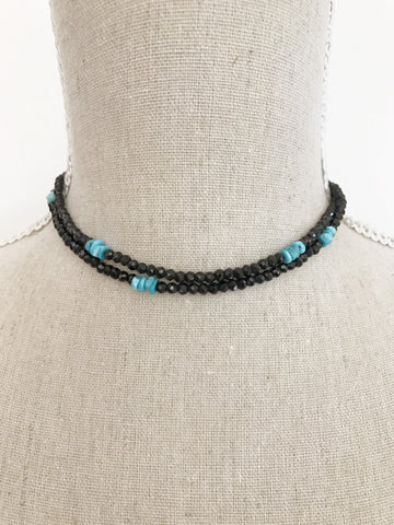 Black Spinel and Turquoise double Wrap Necklace