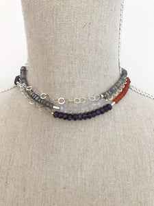 Multi-Color and Silver Wrap Necklace