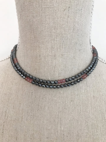 Hematite and Pink Quartz double Wrap Necklace