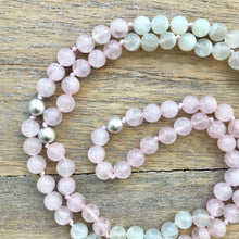Load image into Gallery viewer, Moonstone and Rose Quartz Intention Mala Necklace