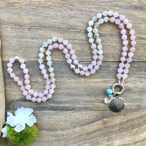 Moonstone and Rose Quartz Intention Mala Necklace