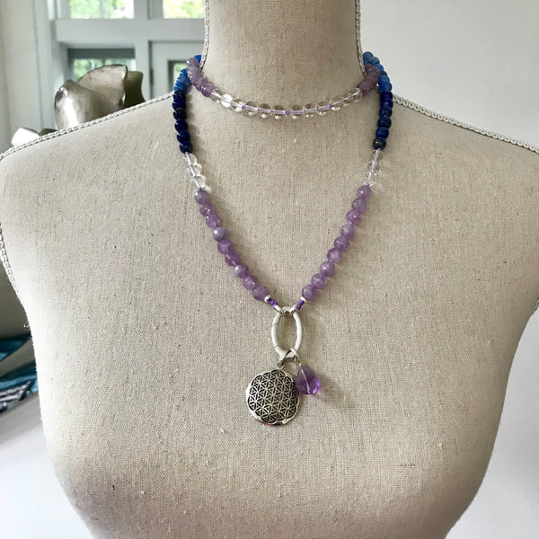 Agate, Amethyst, Lapis and Quartz Intention Mala Necklace