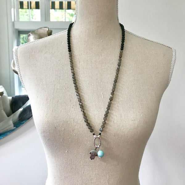 Onyx and Moonstone Intention Mala Necklace