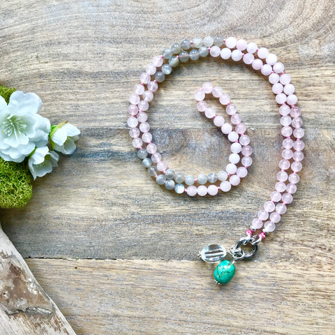 Rose Quartz and Moonstone Alpa Intention Mala Necklace