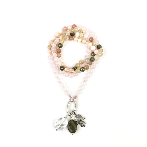 Rose Quartz, Rutilated Quartz, Opal and Pyrite Intention Mala Necklace