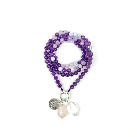 Amethyst and Blue Lace Agate Intention Mala Necklace