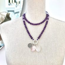 Load image into Gallery viewer, This mala necklace was created with beautiful 8mm Amethyst, Lavender Amethyst and Blue Lace Agate beads. It comes with a Crystal Quartz charm like the one pictured (other charms are for show only and can be purchased separately).