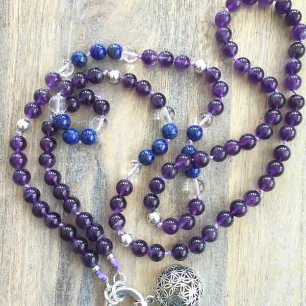 Amethyst and Lapis Lazuli Intention Necklace