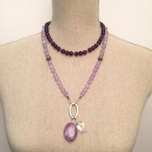 Load image into Gallery viewer, A beautiful necklace to wear every day and a powerful tool with beautiful energy to remind you of your daily intentions. This amethyst and amazonite necklace, is made with 108 beads knotted every 3 stones which can be used as a meditation tool as well. Its a stunning, all around and timeless, boho accessory.
