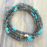 Labradorite and Turquoise Wrap Necklace