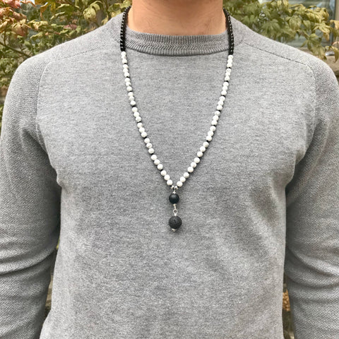 Men's Howlite and Onyx Mala Necklace