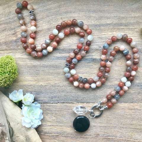 Multi-Colour Moonstone Intention Mala Necklace