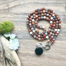 Load image into Gallery viewer, Multi-Colour Moonstone Intention Mala Necklace