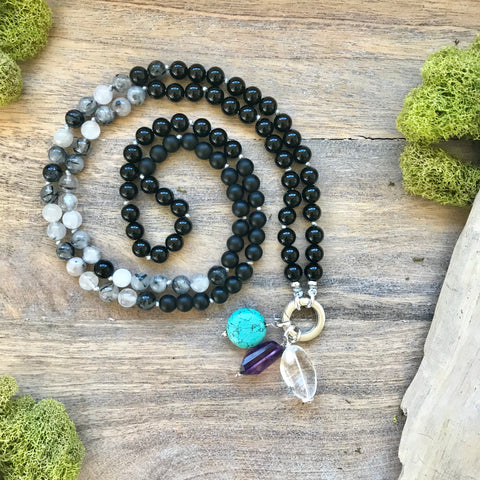 Obsidian, Onyx, and Rutilated Quartz Mala Necklace