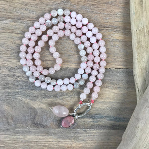 Rose Quartz and Moonstone Intention Mala Necklace
