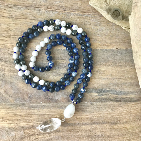 Sodalite, Howlite and Hematite Mala Necklace