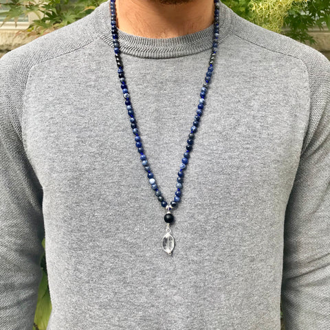 Men's Sodalite and Hematite Mala Necklace