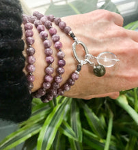 Load image into Gallery viewer, This Intention Mala was created with beautiful 6mm faceted rhodonite beads knotted every 3 stones with a strong nylon cord which can be used in your meditation practice. It's a smaller and shorter version for those who prefer a more delicate mala.