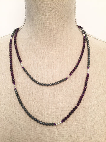 Hematite and Purple Agate Wrap Necklace
