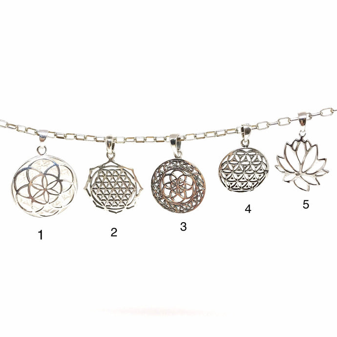 Perfect Flower of Life Charms and Pendants in Sterling Silver to add to our beautiful Intention Malas/Necklaces or to wear with a plain chain necklace.