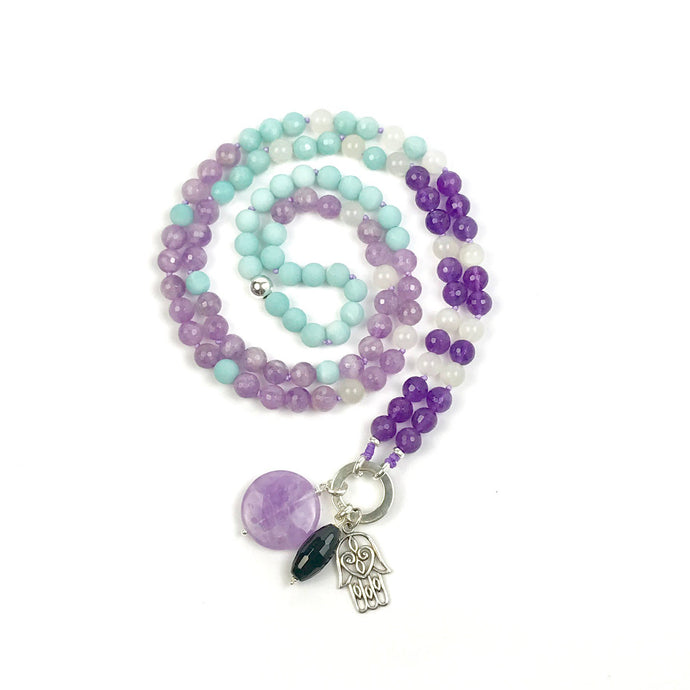 Buddhist Meditation Mala Bead Necklace with Amethyst, Amazonite and Moonstone, Yoga Gifts , Spiritual Jewelry, Japa Mala