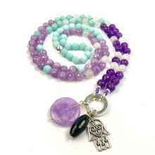 Load image into Gallery viewer, Buddhist Meditation Mala Bead Necklace with Amethyst, Amazonite and Moonstone, Yoga Gifts , Spiritual Jewelry, Japa Mala