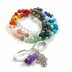 POSITIVE BALANCE CHAKRAS Intention Mala Beads Necklace, Meditation and Yoga gifts, Knotted Necklace,Meditation Beads, Japa Mala