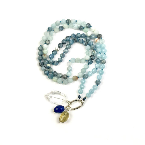 I AM TRUTH Meditation Bead Necklace with Aquamarine, Mala Prayer Beads, Yoga Gifts , Buddhist Jewelry, Japa Mala
