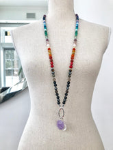 Load image into Gallery viewer, POSITIVE BALANCE CHAKRAS Intention Mala Beads Necklace, Meditation and Yoga gifts, Knotted Necklace,Meditation Beads, Japa Mala