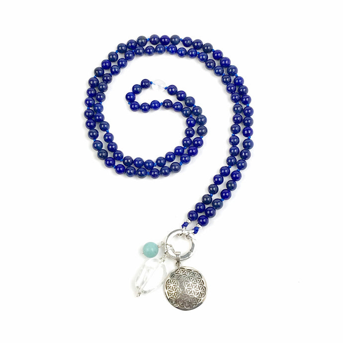 Lapis Lazuli Mala Bead Necklace, Yoga and Meditation Jewelry, Boho Gemstone Necklace, Intention Mala with no Tassel, Lapis Japa Mala