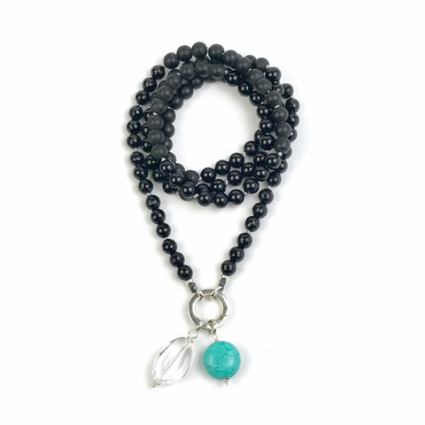 Onyx and Black Obsidian Intention Mala Bead Necklace for Meditation, Buddhist Jewelry, Spiritual Knotted Mala, Meditation Gifts
