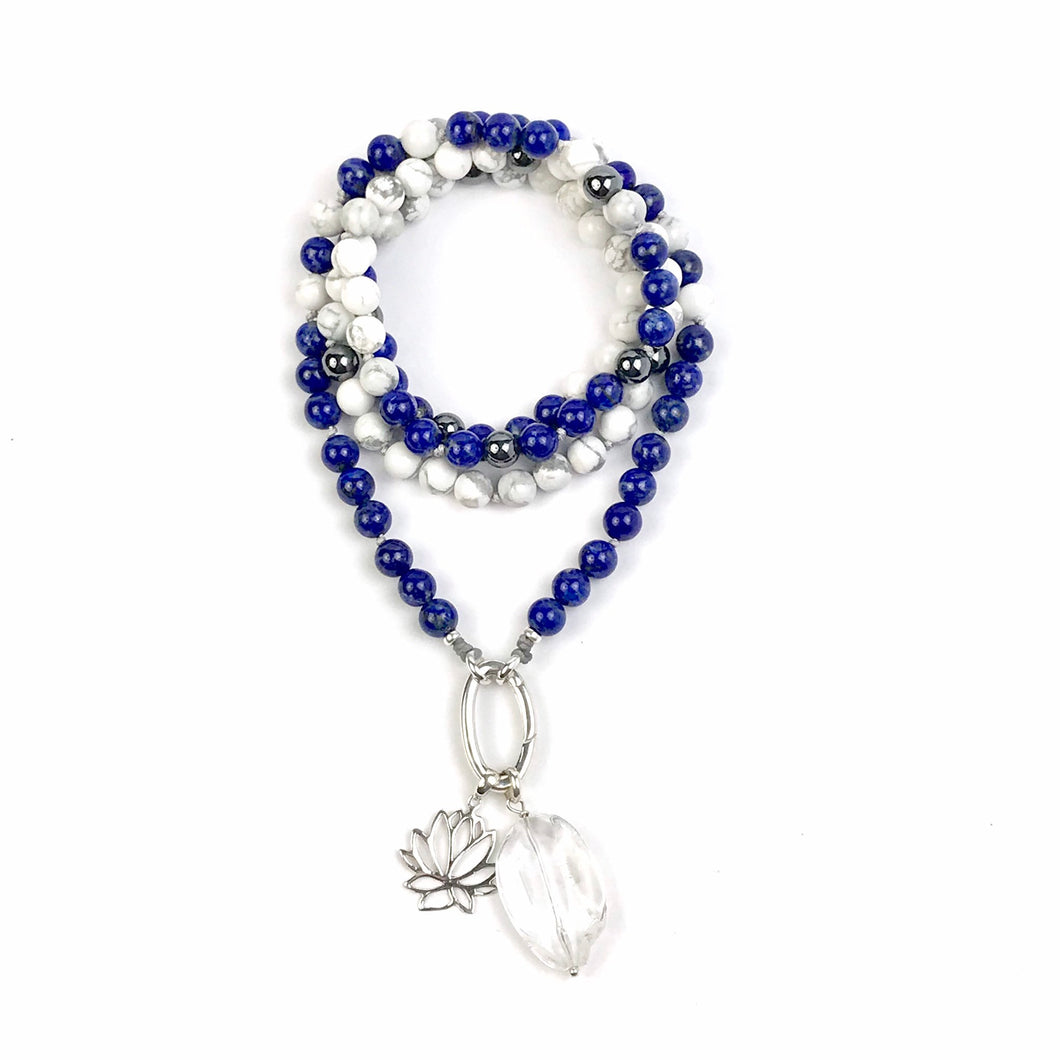 This special Intention Mala necklace was created with beautiful 8mm Lapis lazuli, Hematite and Howlite gemstones. This mala comes with a Crystal Quartz Charm like the one in the photos (the other charms are for show only and can be purchase separately).