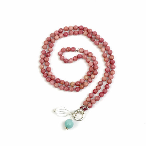 Rhodonite Mala Bead Necklace, Yoga and Meditation Knotted Boho Jewelry, Smaller Intention Mala with no Tassel, Rhodonite Japa Mala, Girlfrie