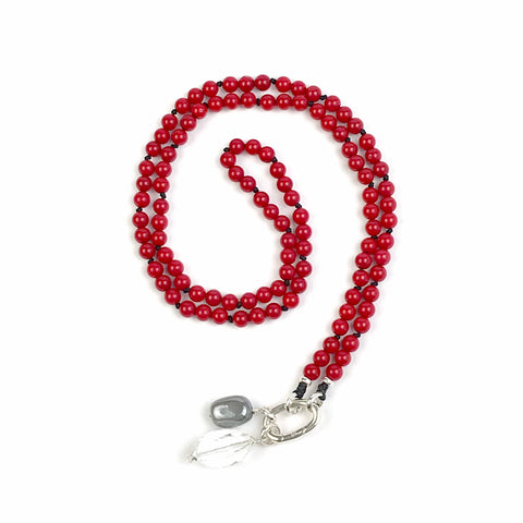 Red Sea Bamboo Mala Bead Necklace, Yoga and Meditation Knotted Boho Jewelry, Smaller Intention Mala with no Tassel, Japa Mala, Girlfriend G