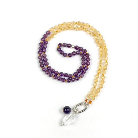 Amethyst and Citrine Mala Bead Necklace, Yoga and Meditation Gifts, Buddhist Knotted  Intention Necklace, Wife Gifts