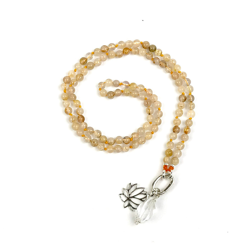 Rutilated Quartz Meditation Necklace, Mala Bead Necklace, No Tassel Intention Mala, Spiritual Jewelry, Prayer Beads, Boho Necklace