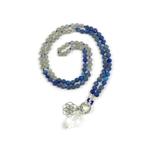 Lapis Lazuli and Moonstone Intention Mala Bead Necklace, Meditation Jewelry, Boho Gemstone Knotted Necklace, Mala with no Tassel, Girlfriend